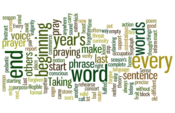 A picture I created at Wordle.net using the passages from T.S. Eliot's poem