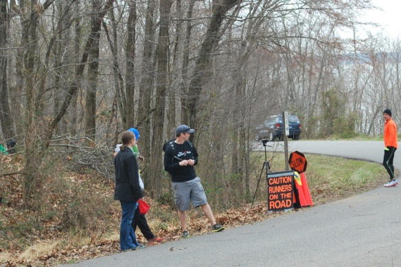 I wasn't the only one waiting for a runner to come out of these woods.